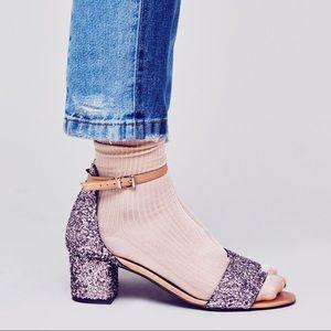 Free People Marigold Pink Glitter Heel Sandals 38